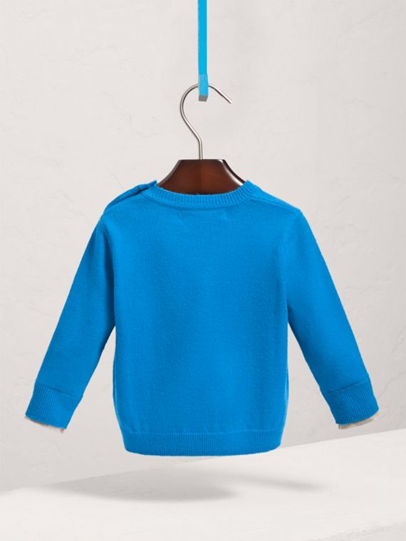 Check Cuff Cashmere Sweater in Cyan Blue | Burberry - cell image 3