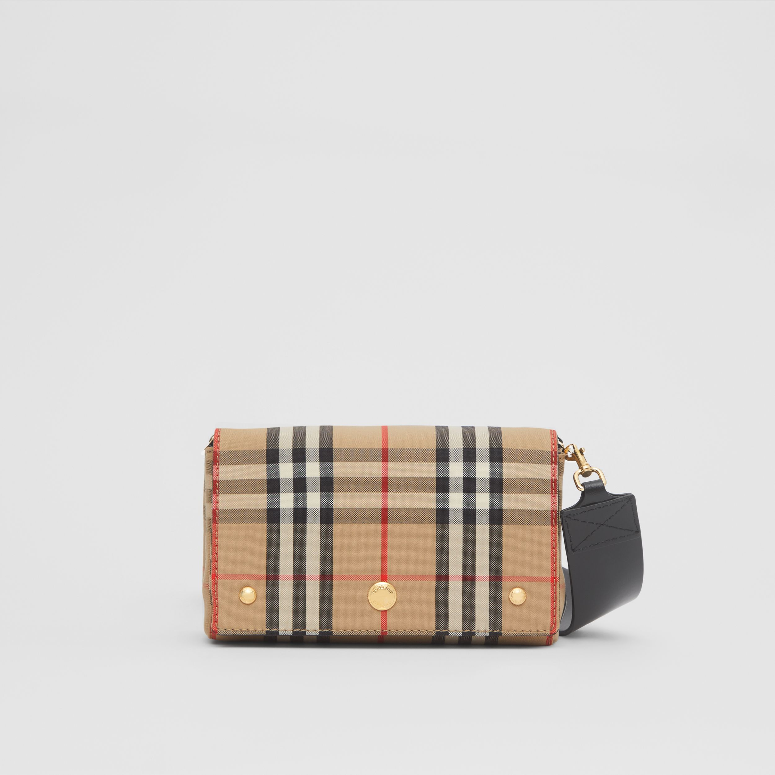 Small Vintage Check and Leather Crossbody Bag in Archive Beige - Women | Burberry - 1