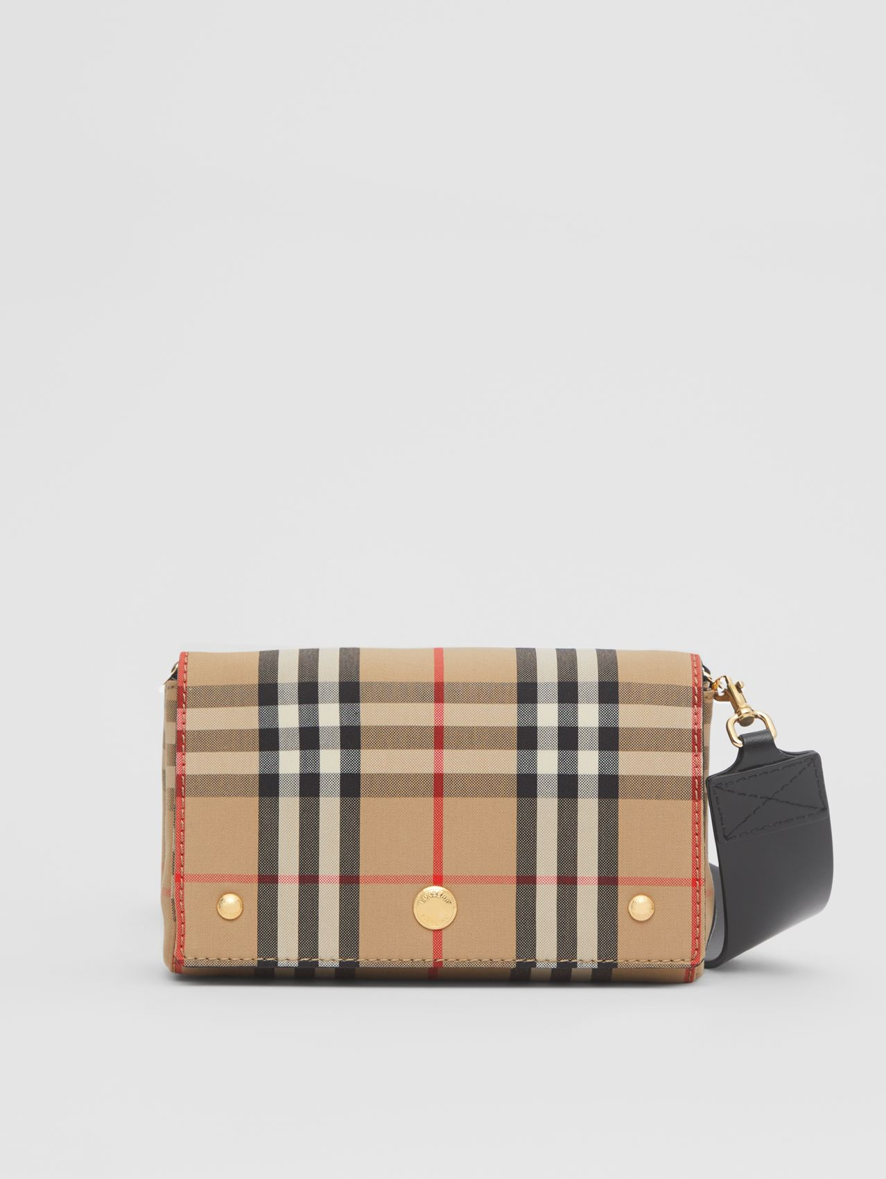Small Vintage Check and Leather Crossbody Bag (Archive Beige)