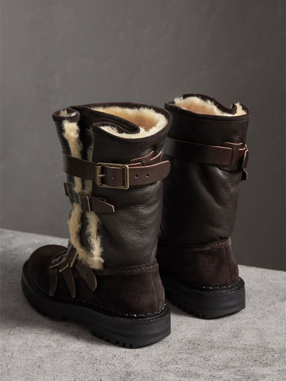 Buckle Detail Shearling and Suede Boots in Charcoal Brown - Women | Burberry - cell image 3