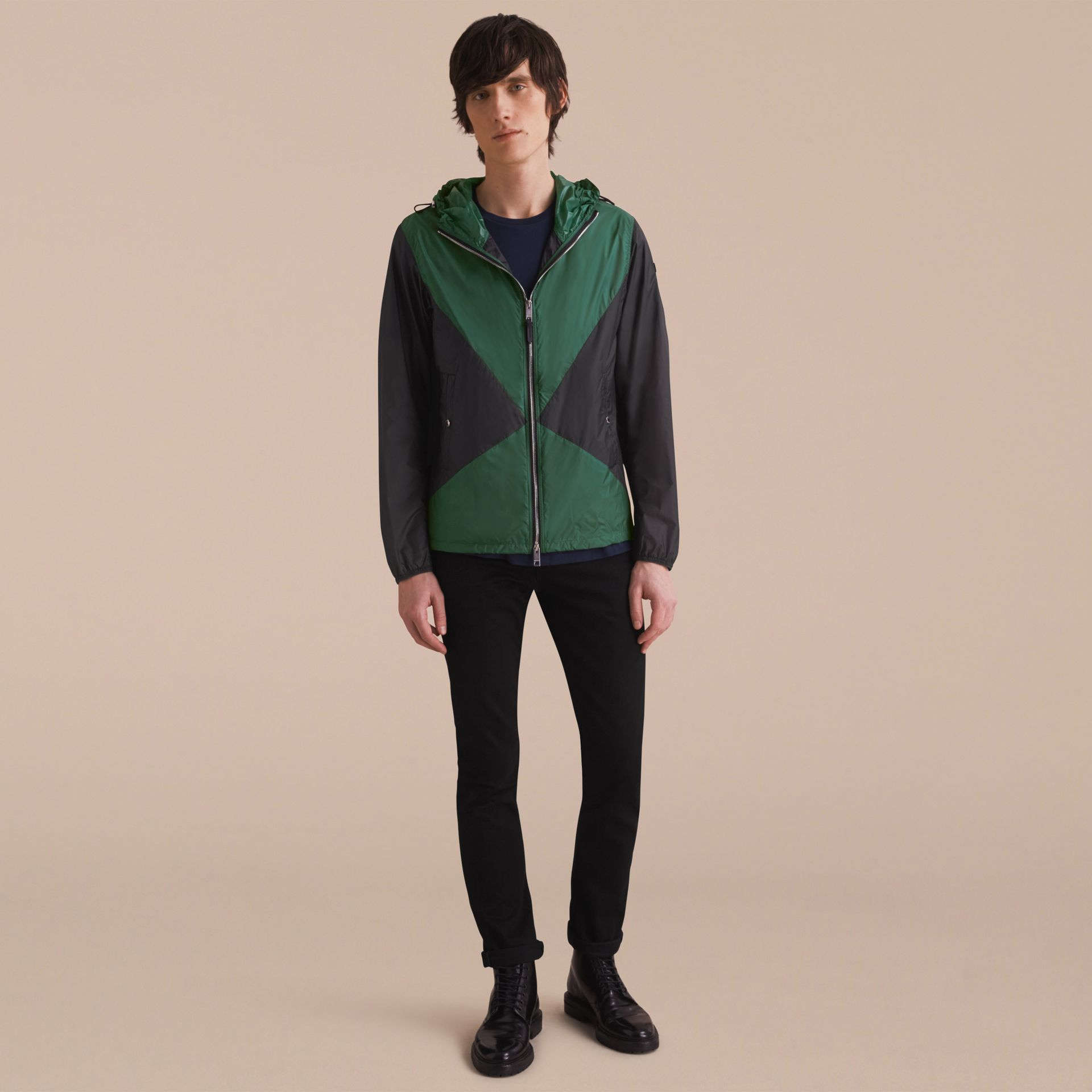 Ultra-lightweight Geometric Motif Technical Jacket with Hood - gallery image 6