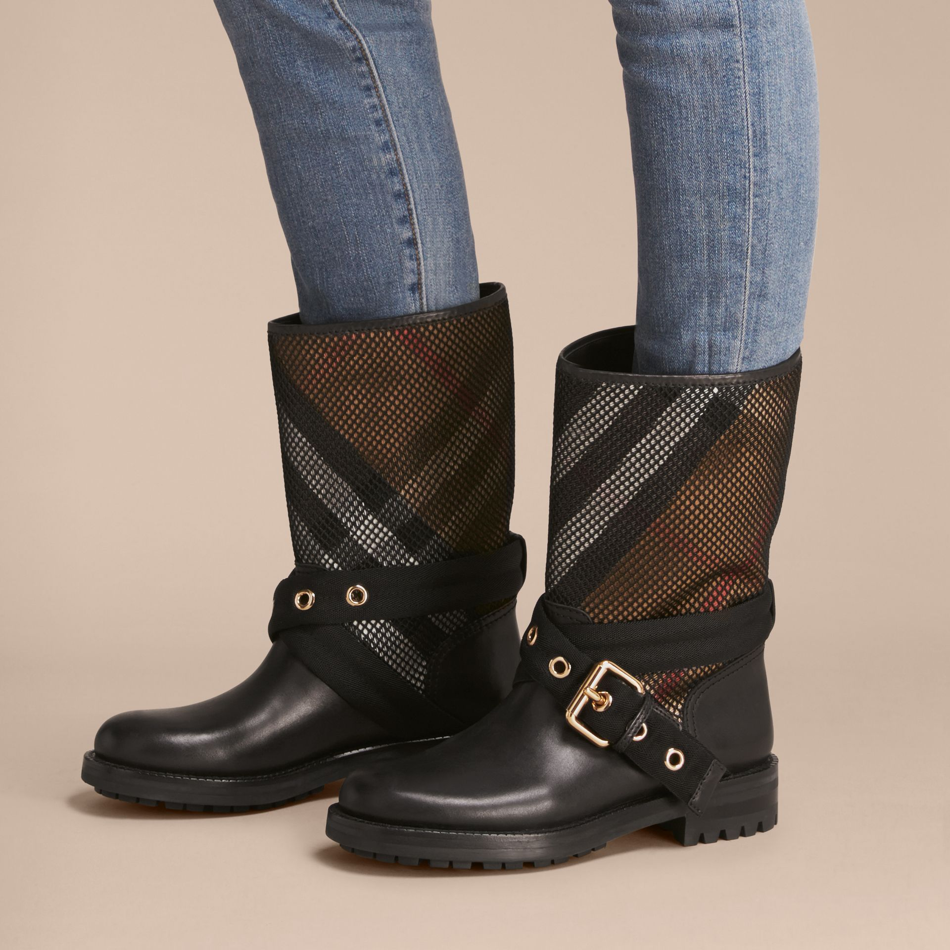 Leather, Mesh and House Check Boots in Black - Women | Burberry - gallery image 3