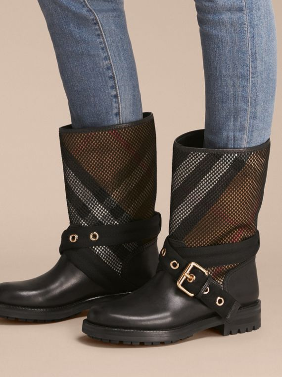Leather, Mesh and House Check Boots in Black - Women | Burberry - cell image 2
