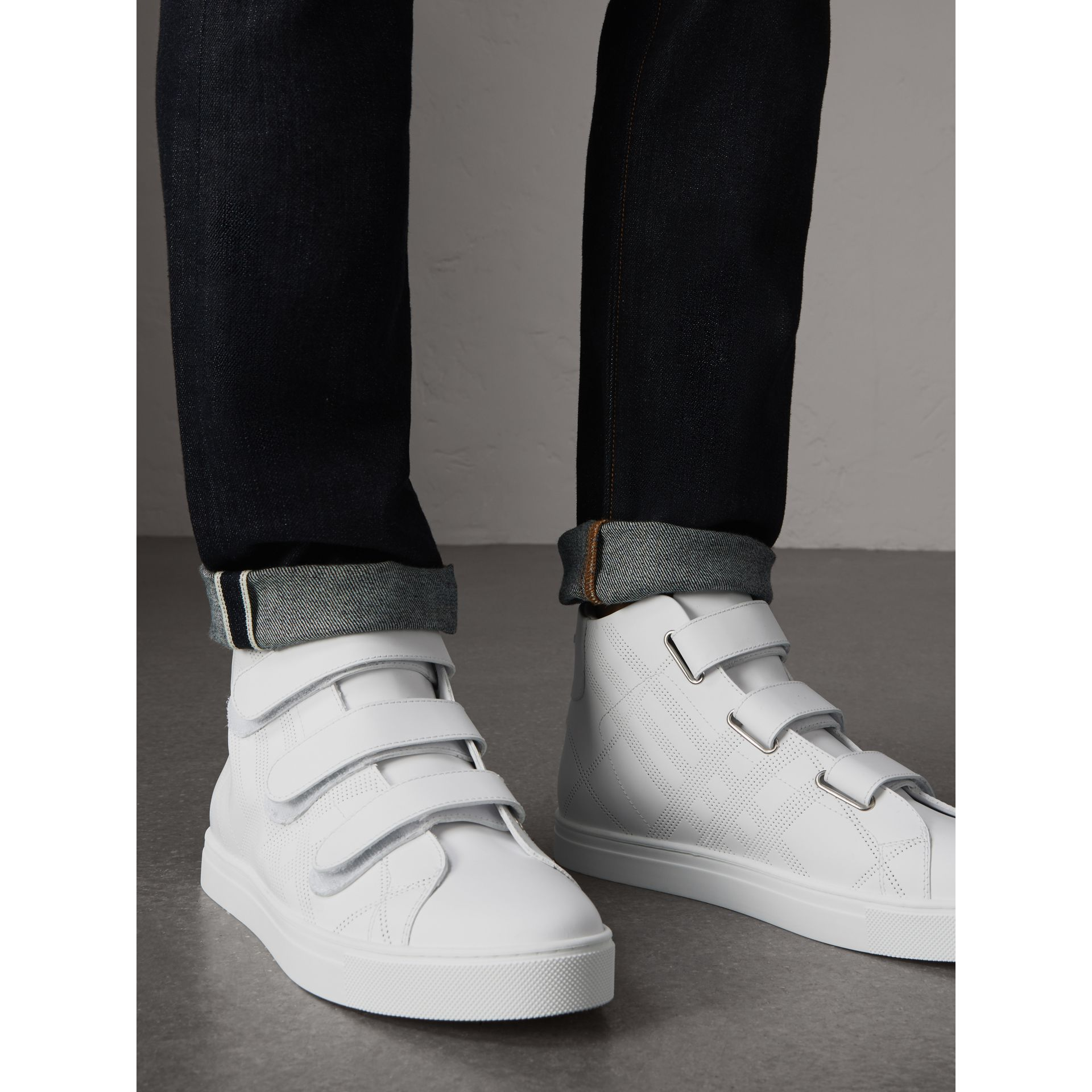 Perforated Check Leather High-top Sneakers in Optic White - Men | Burberry Australia - gallery image 2