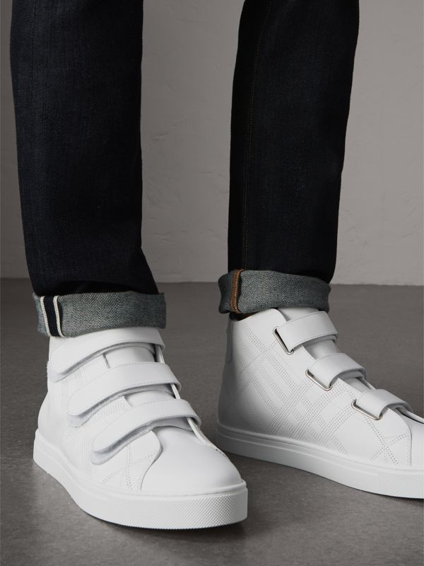 Perforated Check Leather High-top Sneakers in Optic White - Men | Burberry Australia - cell image 2