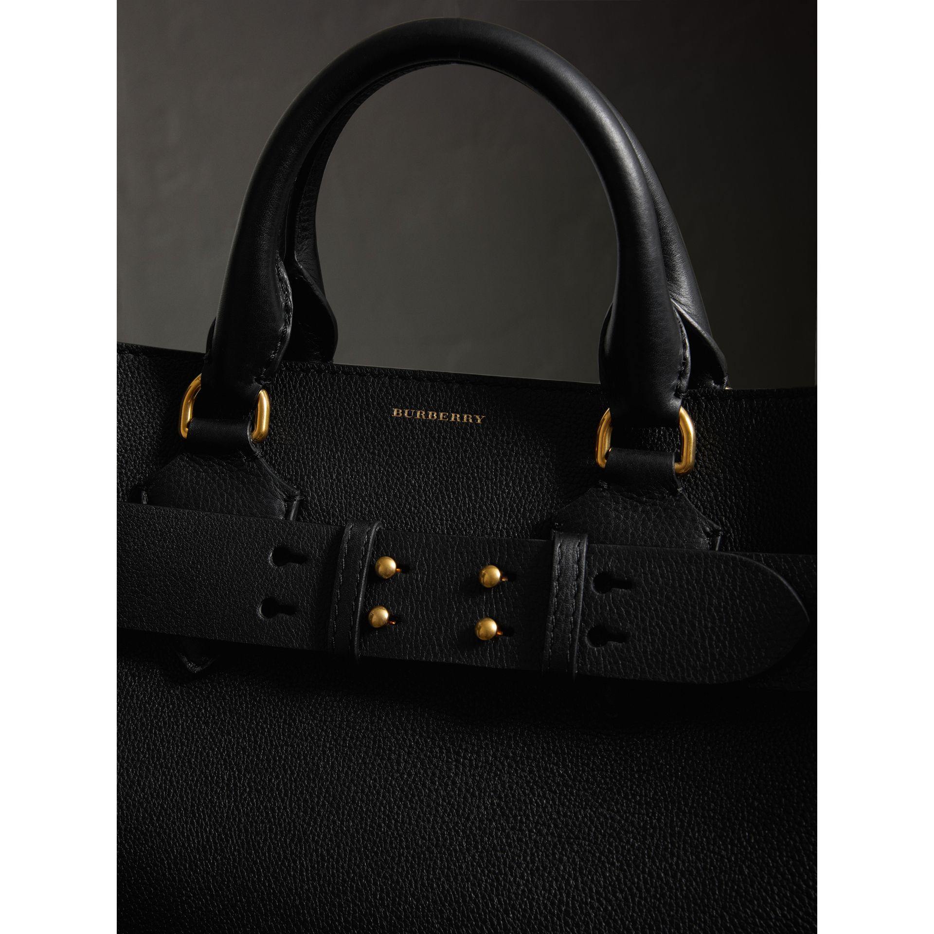 The Large Leather Belt Bag in Black/yellow | Burberry United States - gallery image 1