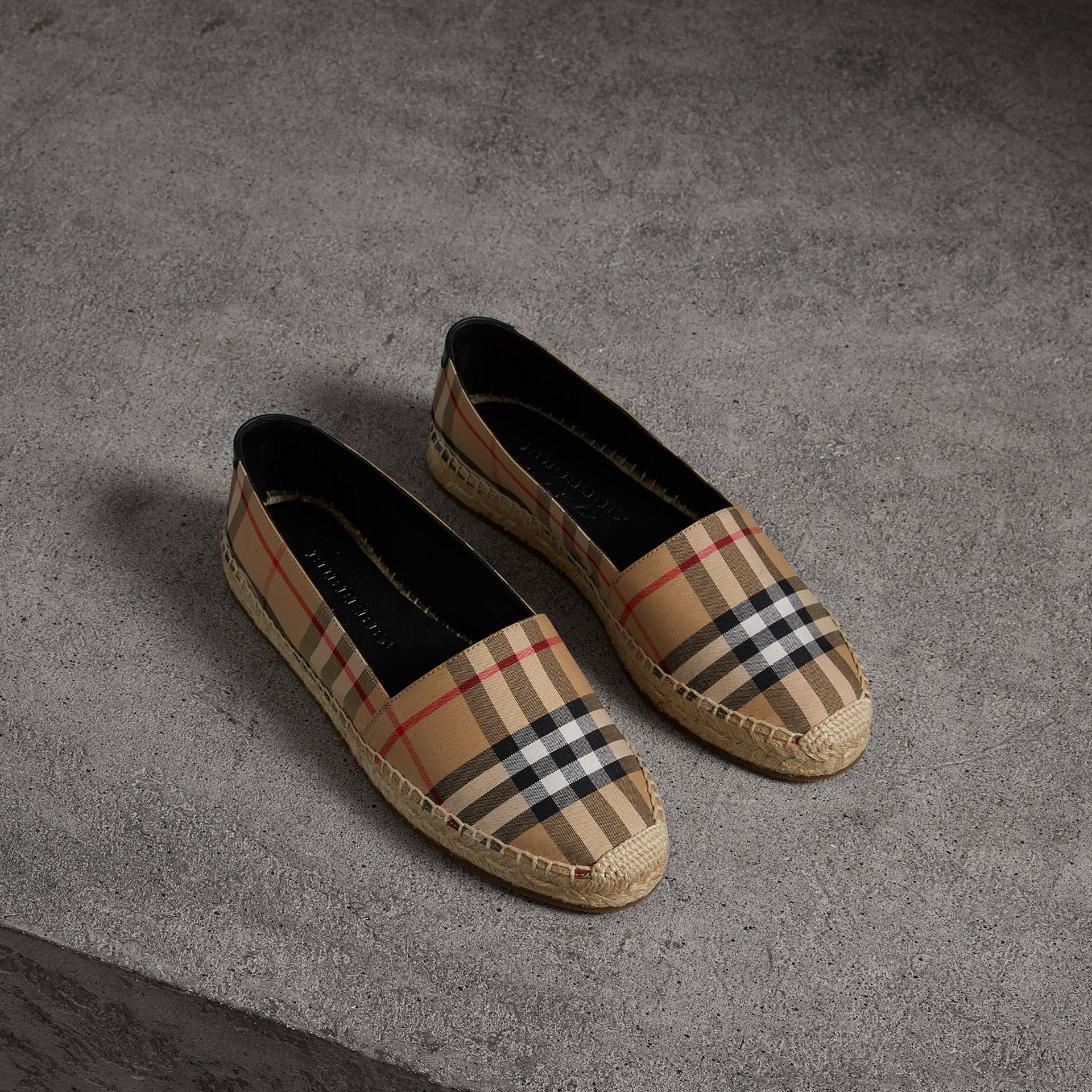 Vintage Check and Leather Espadrilles in Antique Yellow - Women | Burberry - gallery image 0