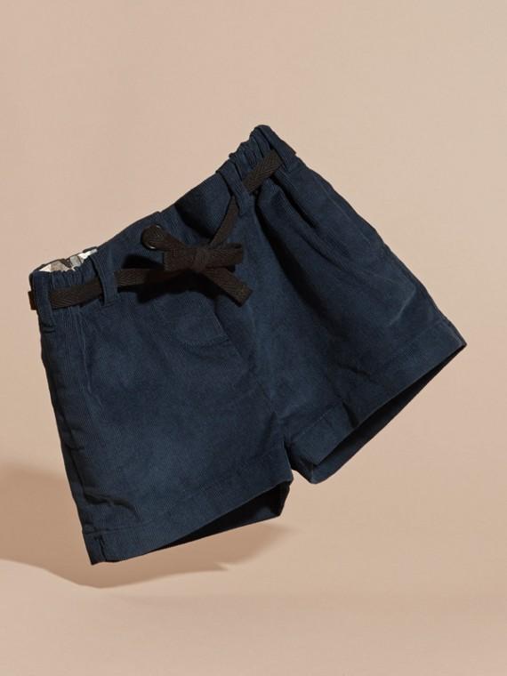 Bleu canard intense Short en velours côtelé de coton avec ceinture - cell image 2
