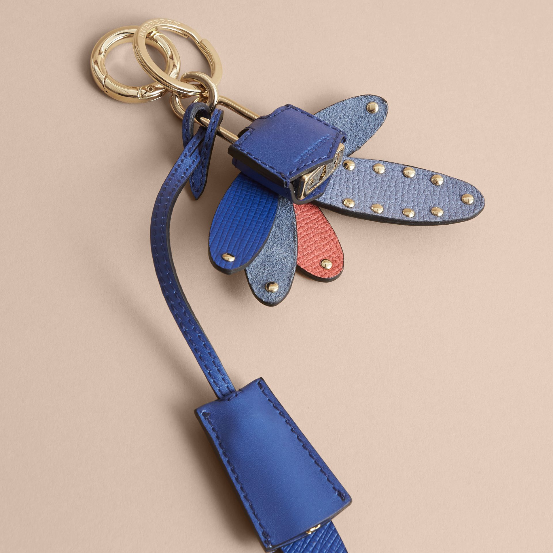 Beasts Leather Key Charm and Padlock in Hydrangea Blue - Women | Burberry - gallery image 4