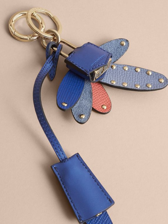 Beasts Leather Key Charm and Padlock in Hydrangea Blue - Women | Burberry - cell image 3