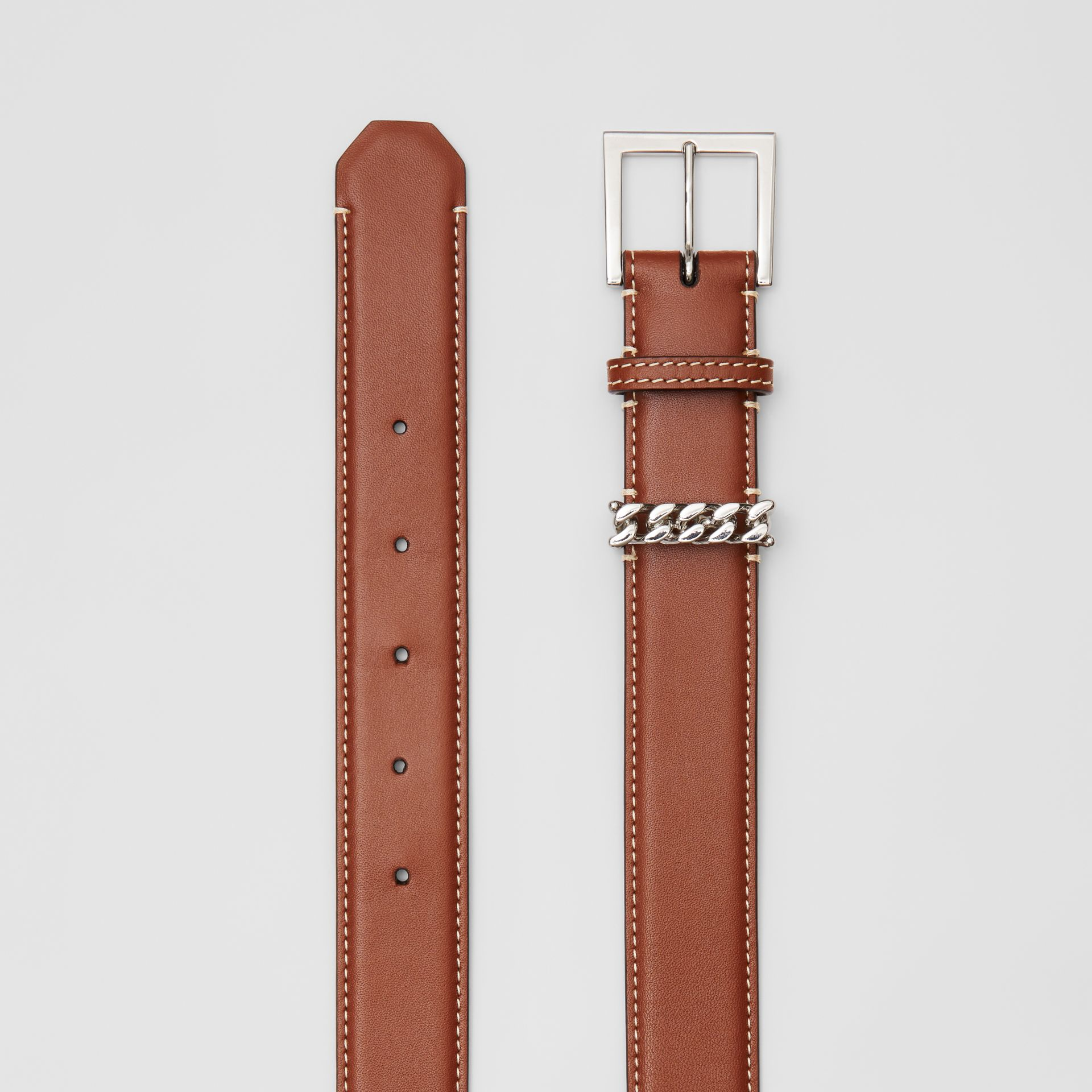 Chain Detail Topstitched Leather Belt in Tan/ecru - Women | Burberry - gallery image 5