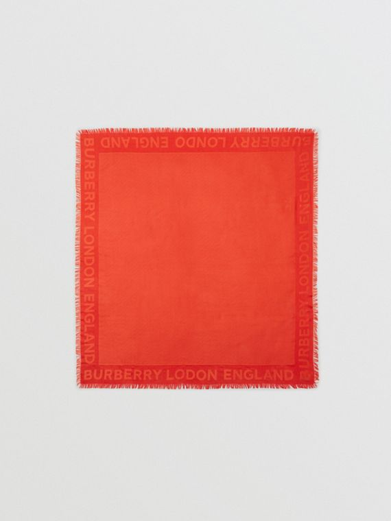 Monogram Silk Wool Jacquard Large Square Scarf in Vermilion