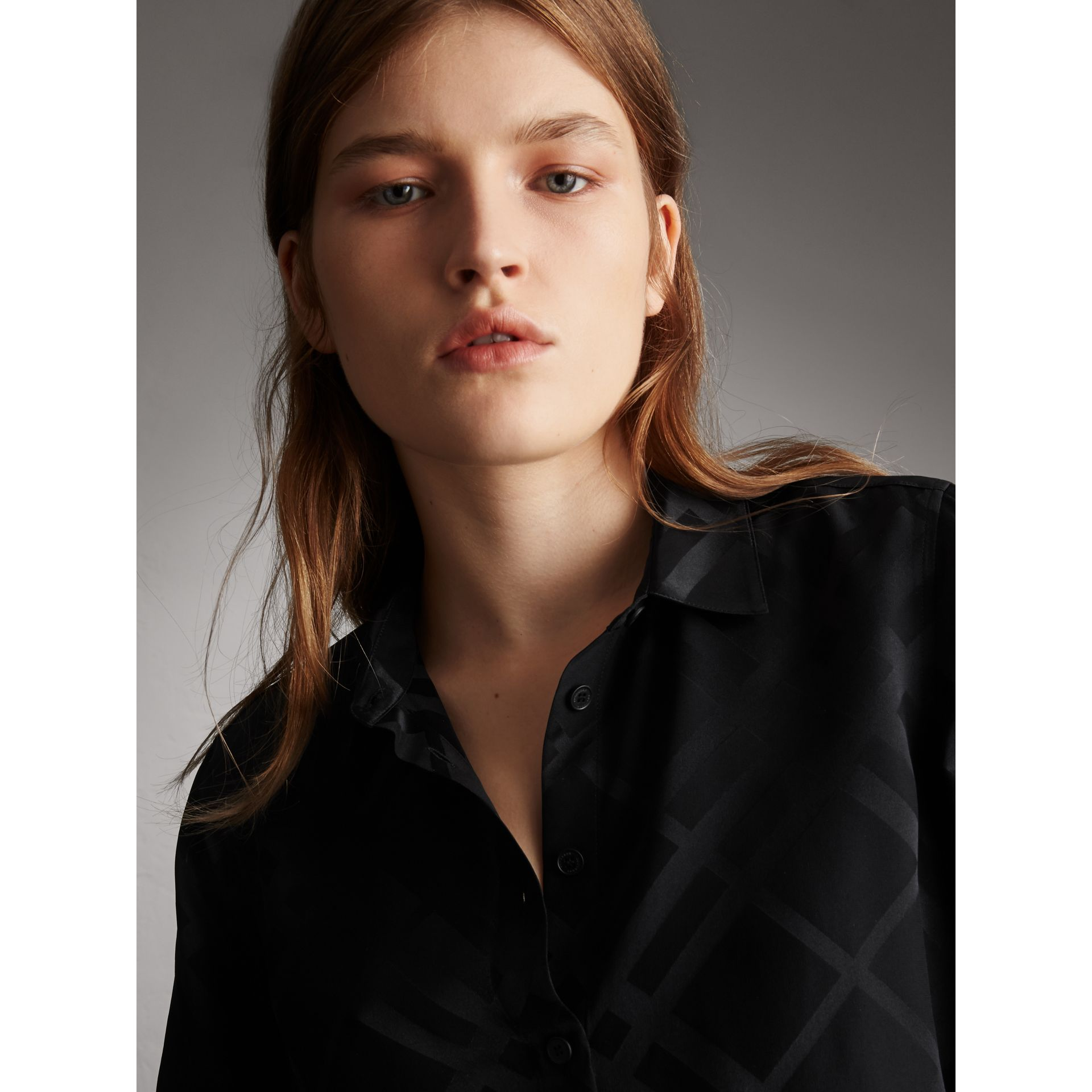 Tonal Check Silk Shirt in Black - Women | Burberry - gallery image 2