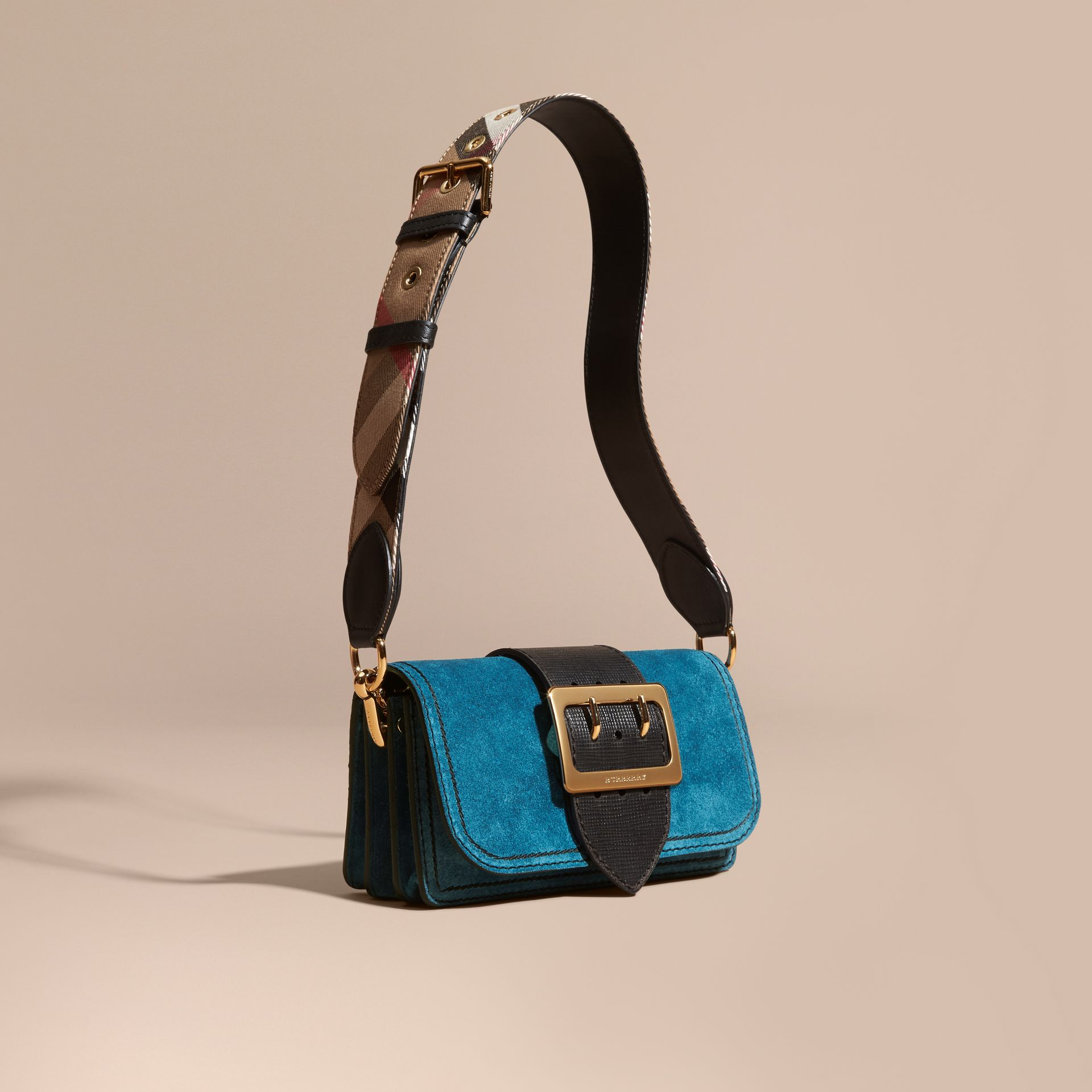 The Small Buckle Bag in Suede with Topstitching in Peacock Blue /black - gallery image 1