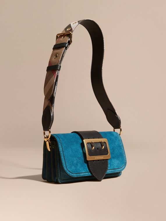 The Small Buckle Bag in Suede with Topstitching Peacock Blue /black