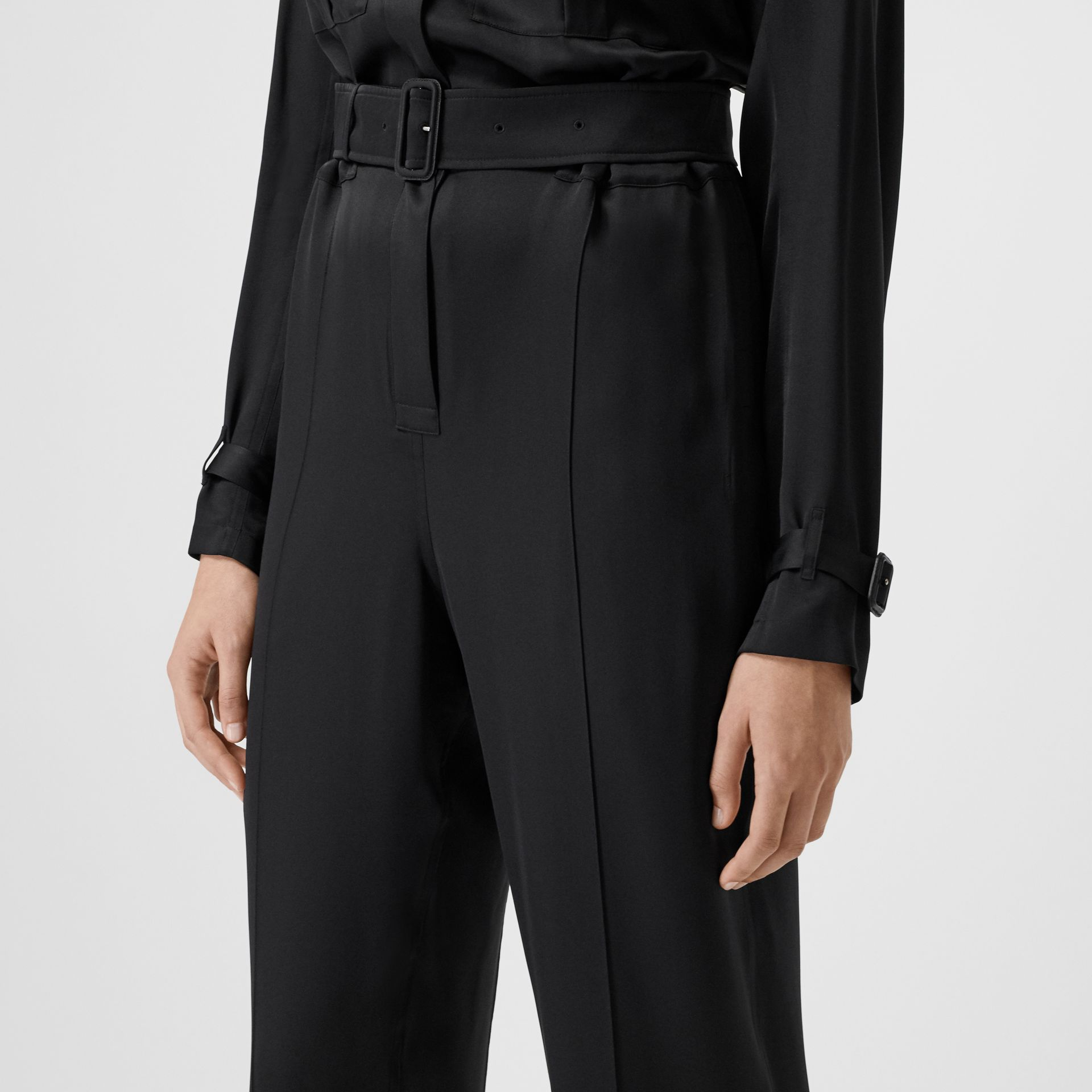 Silk Satin Jumpsuit in Black - Women | Burberry - gallery image 4