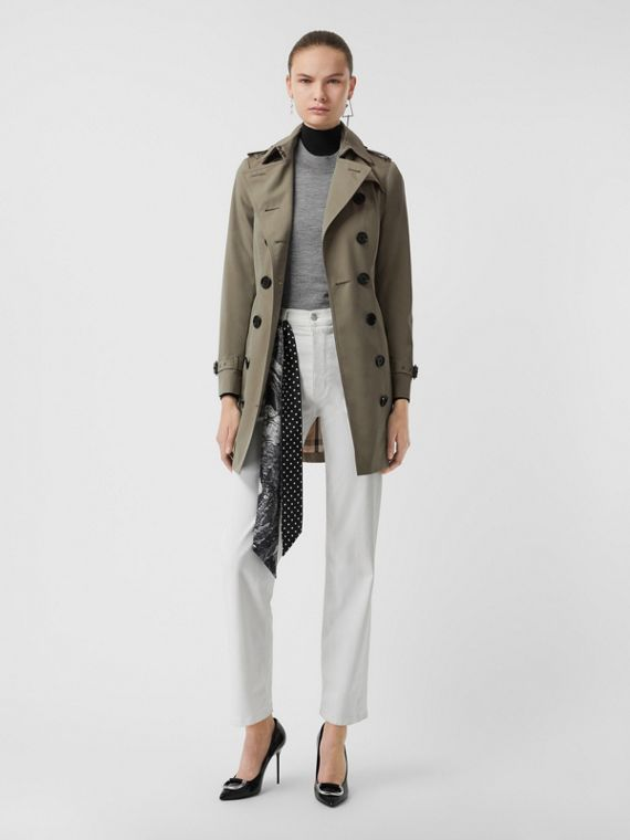 Sandringham Fit Cotton Gabardine Trench Coat in Chalk Green