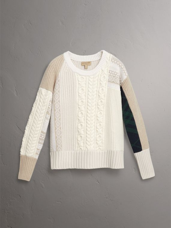 Colour Block Fair Isle and Cable Knit Wool Cashmere Sweater in Ivory - Women | Burberry - cell image 3