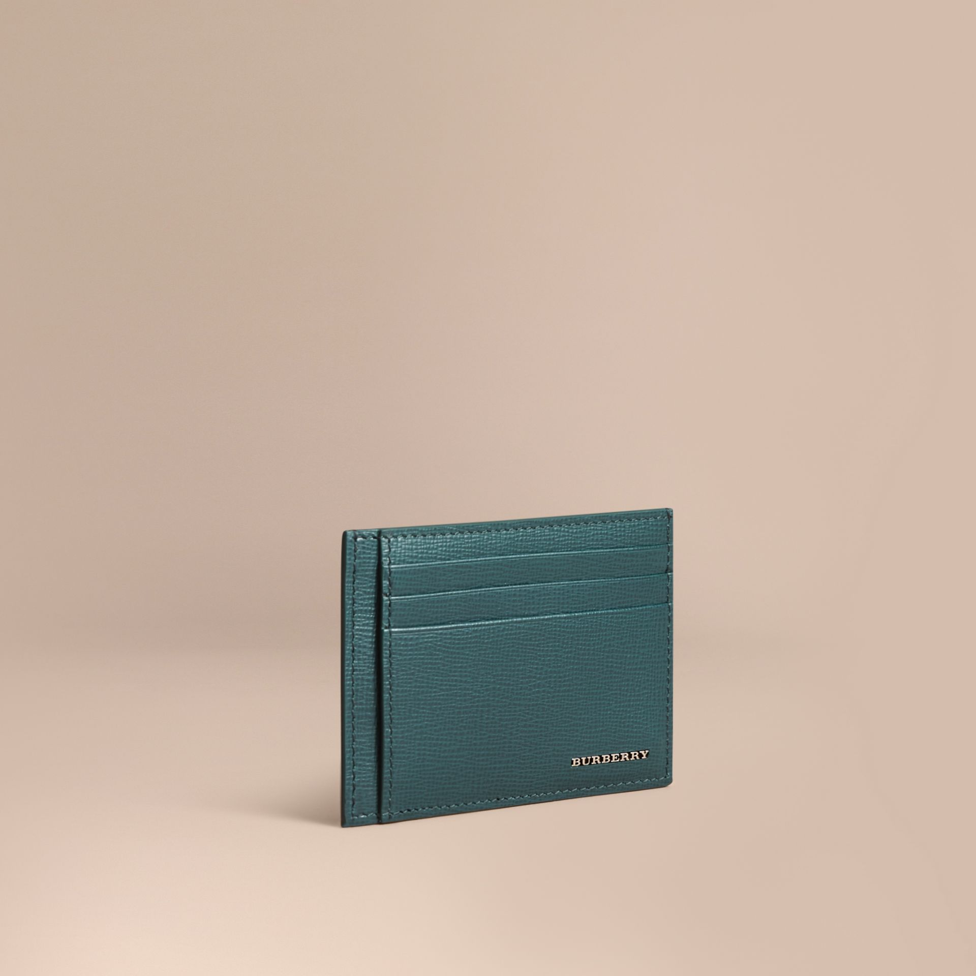 London Leather Money Clip Card Case in Dark Teal - Men | Burberry Canada - gallery image 1