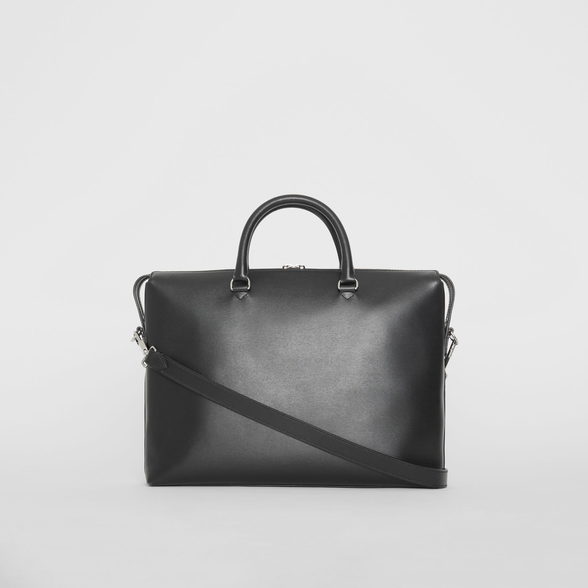 Large Textured Leather Briefcase in Black - Men | Burberry Singapore - gallery image 7