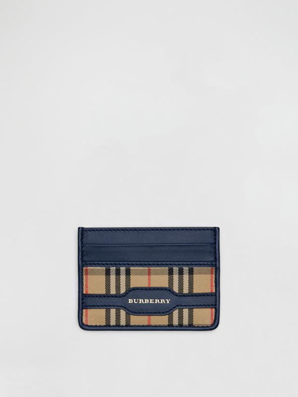 1983 Check and Leather Card Case in Ink Blue - Men | Burberry - cell image 2
