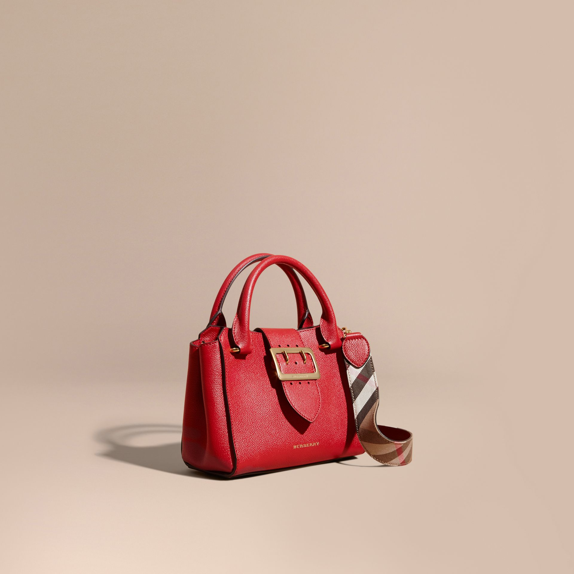 Parade red The Small Buckle Tote in Grainy Leather Parade Red - gallery image 1
