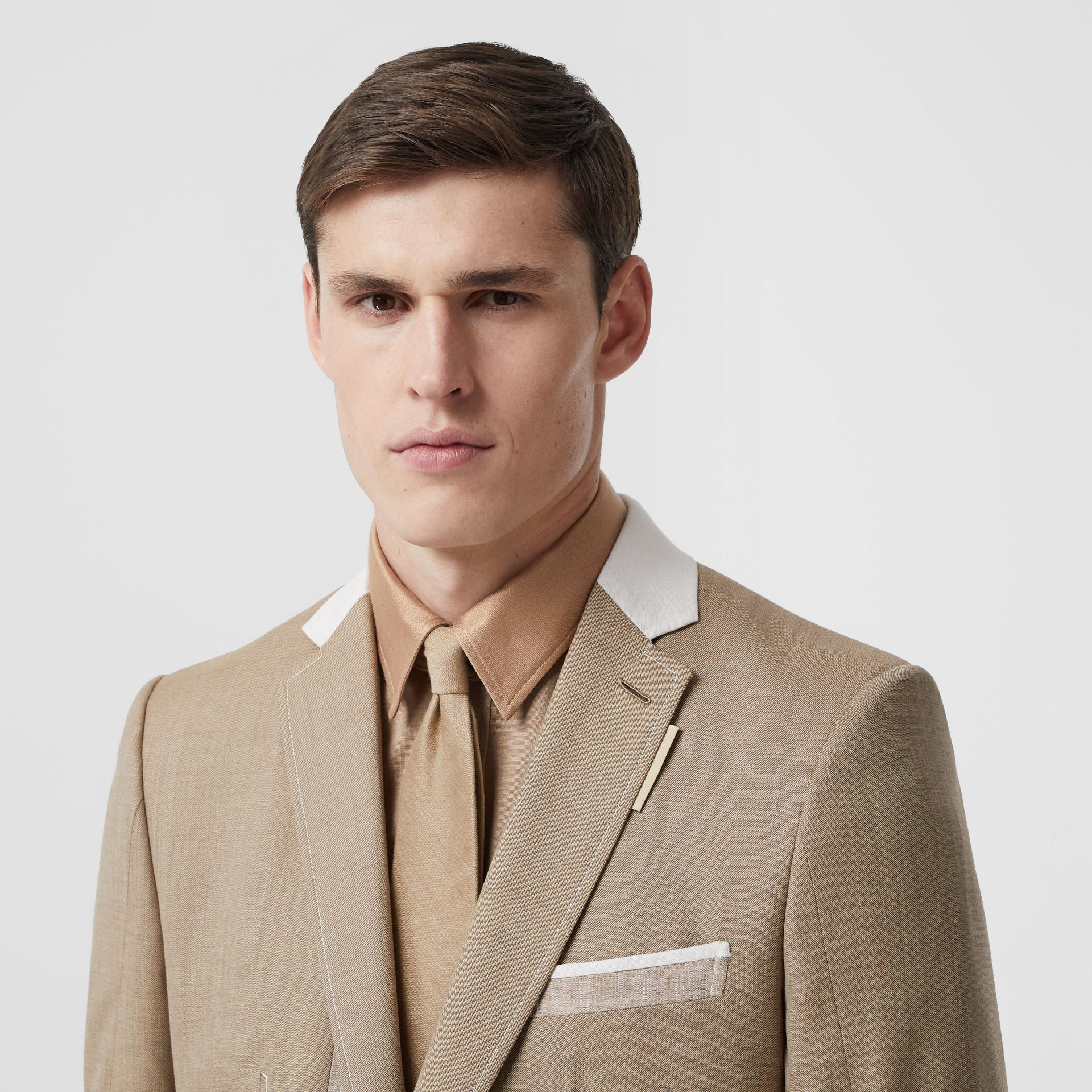Classic Cut Silk Tie in Soft Fawn | Burberry - gallery image 2