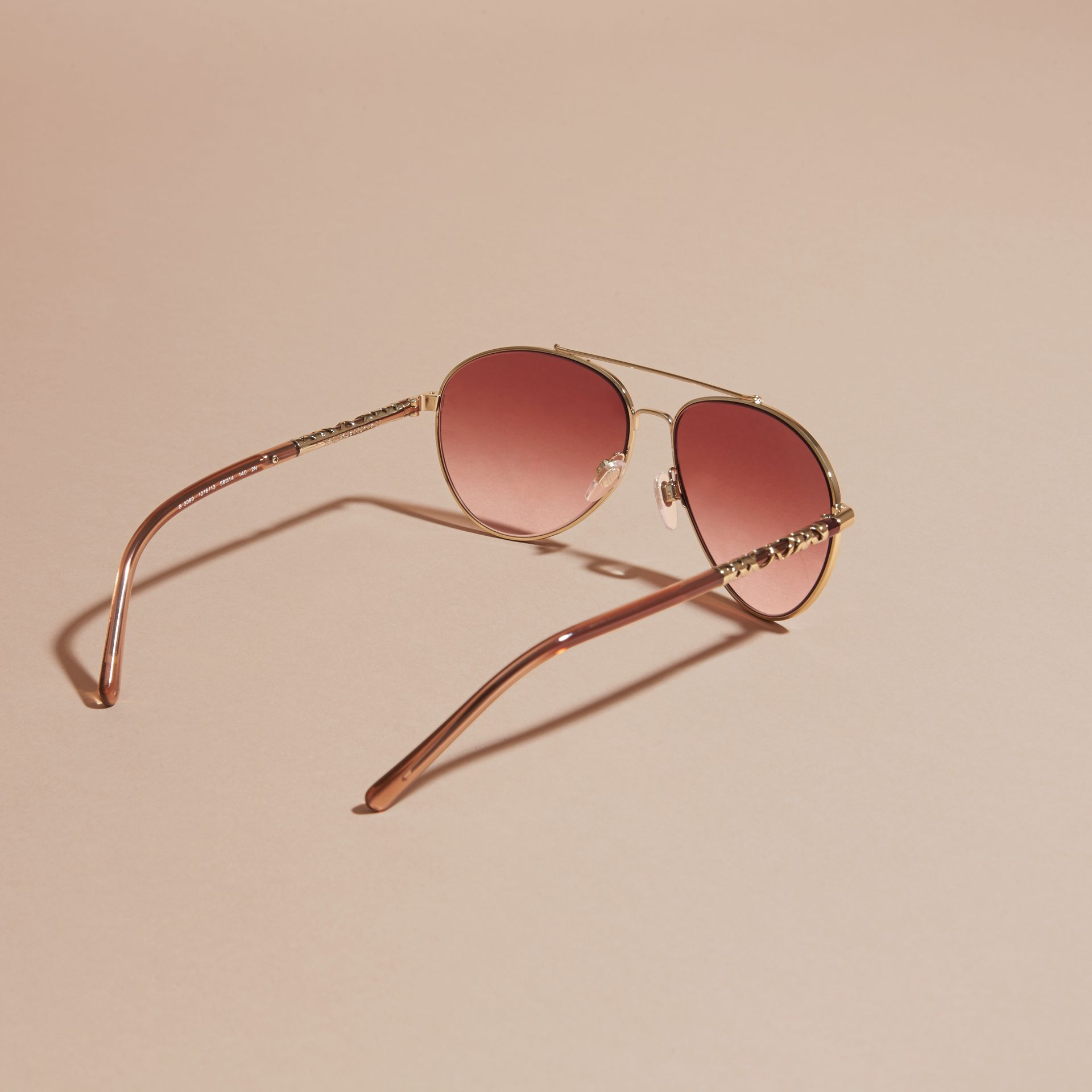 Pale gold Check Detail Aviator Sunglasses Pale Gold - gallery image 4