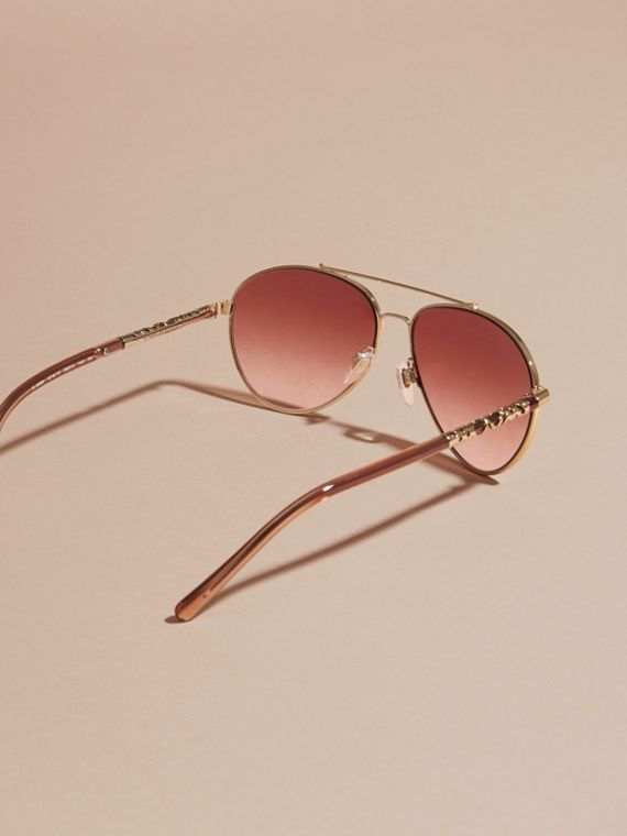 Pale gold Check Detail Aviator Sunglasses Pale Gold - cell image 3