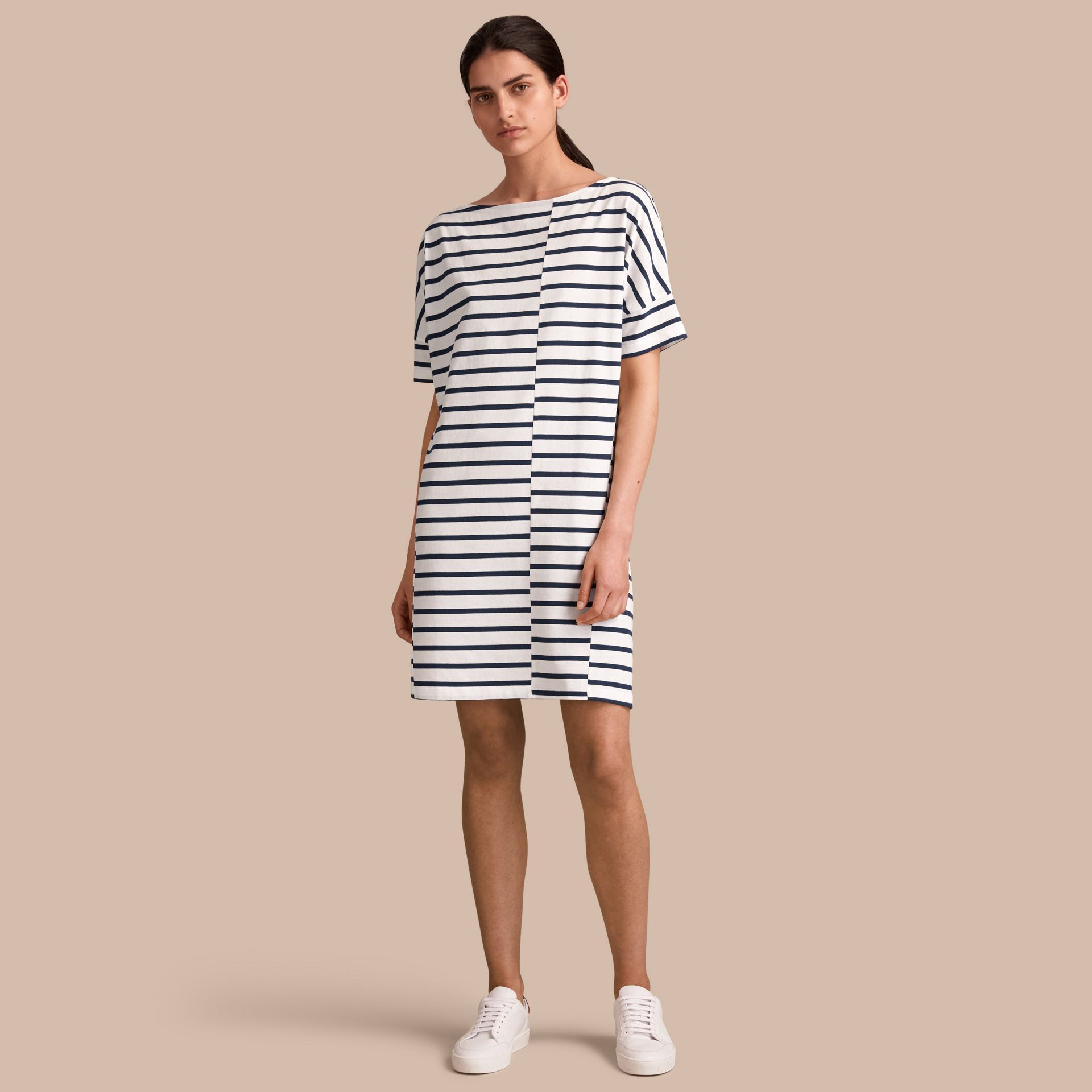 Short-sleeve Striped Jersey Dress - Women | Burberry - gallery image 1