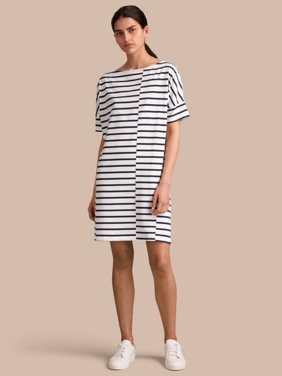 Short-sleeve Striped Jersey Dress