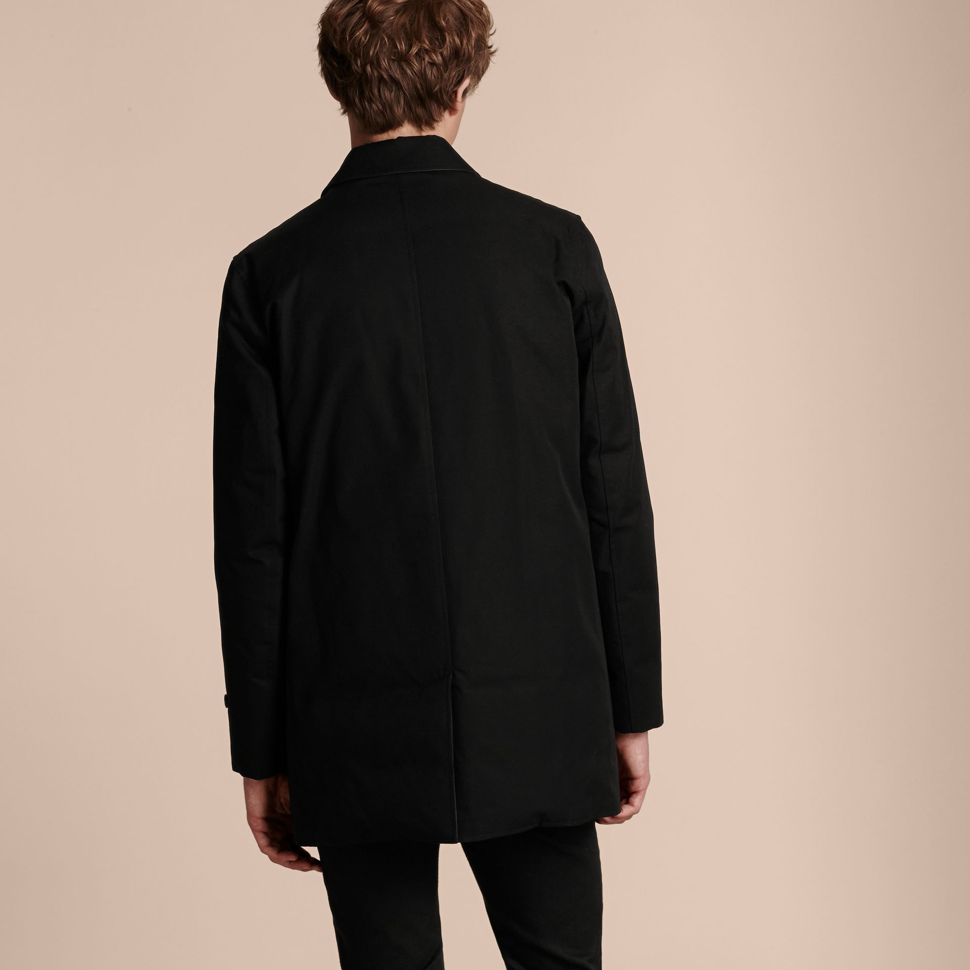 Black Reversible Down-filled Cotton Gabardine Car Coat - gallery image 6