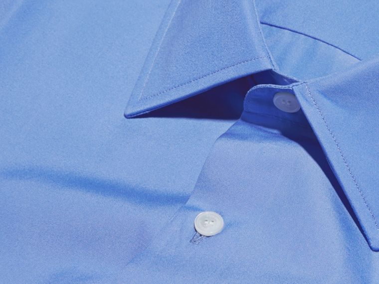 Modern Fit Cotton Poplin Shirt in Mid Blue - cell image 1