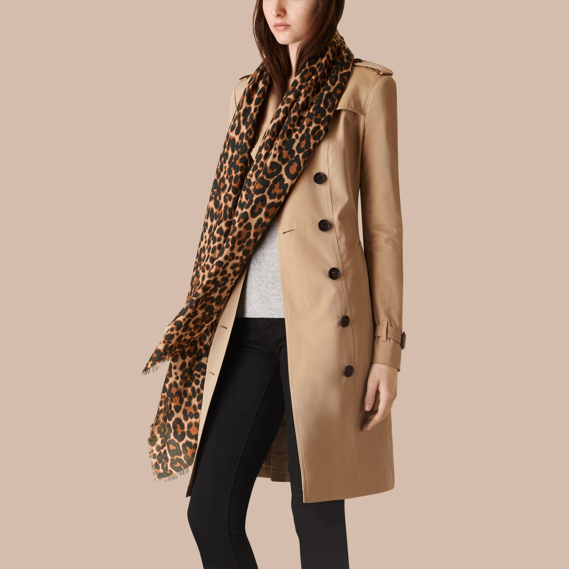 Camel The Lightweight Cashmere Scarf in Animal Print - gallery image 3