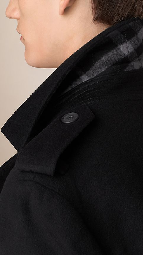 Black Mid-Length Virgin Wool Cashmere Trench Coat - Image 4