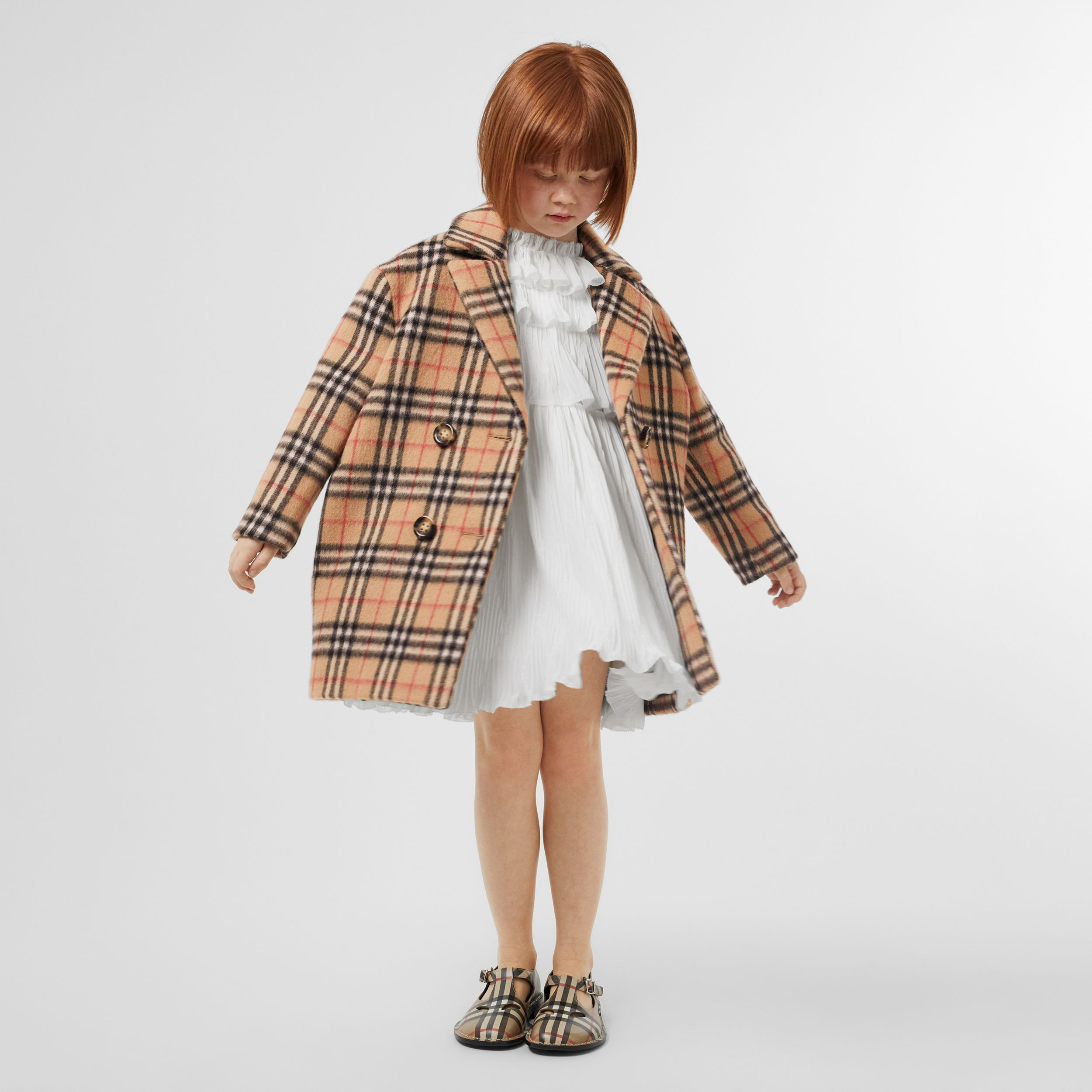 Vintage Check Alpaca Wool Blend Pea Coat in Archive Beige | Burberry - 3