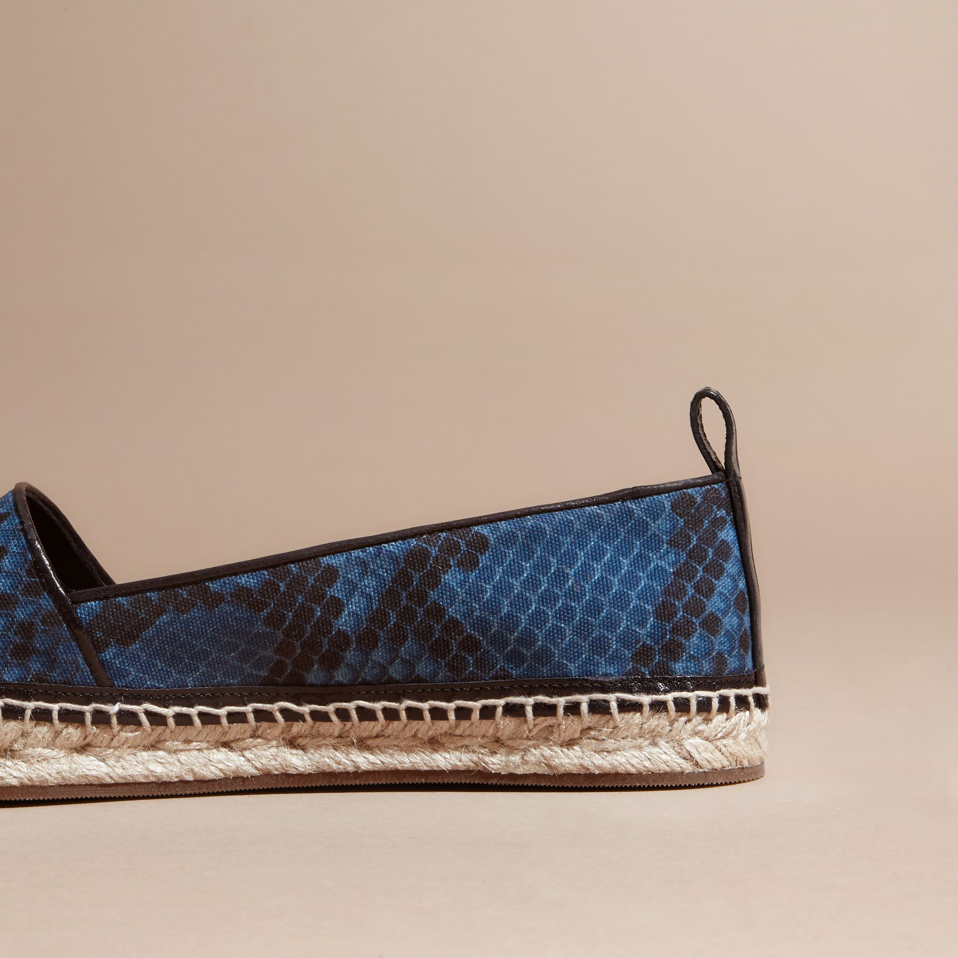 Mineral blue Tasselled Python Print Cotton and Leather Espadrilles Mineral Blue - gallery image 4