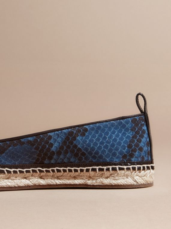 Mineral blue Tasselled Python Print Cotton and Leather Espadrilles Mineral Blue - cell image 3