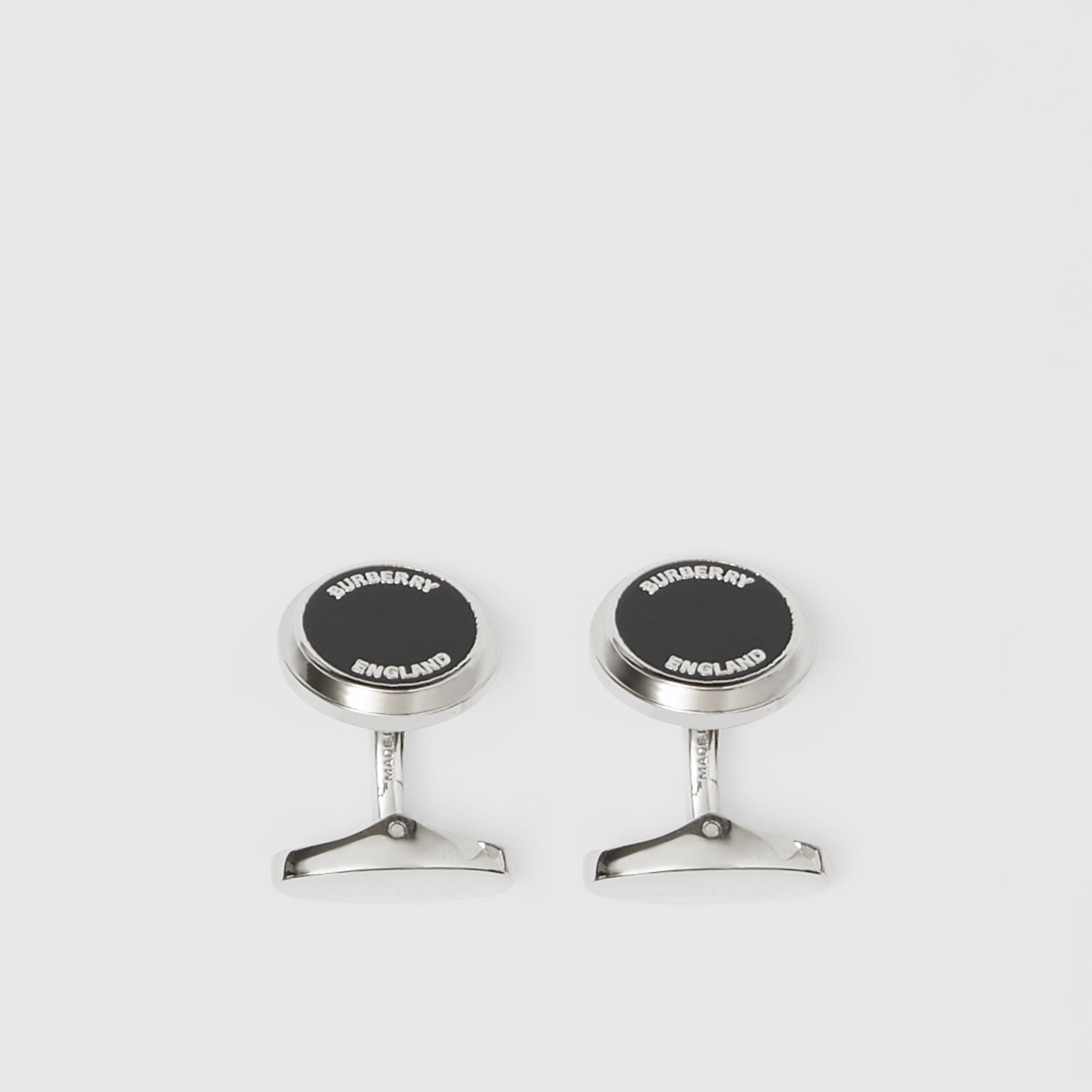Logo Detail Palladium-plated Cufflinks in Palladium/black - Men | Burberry - 3