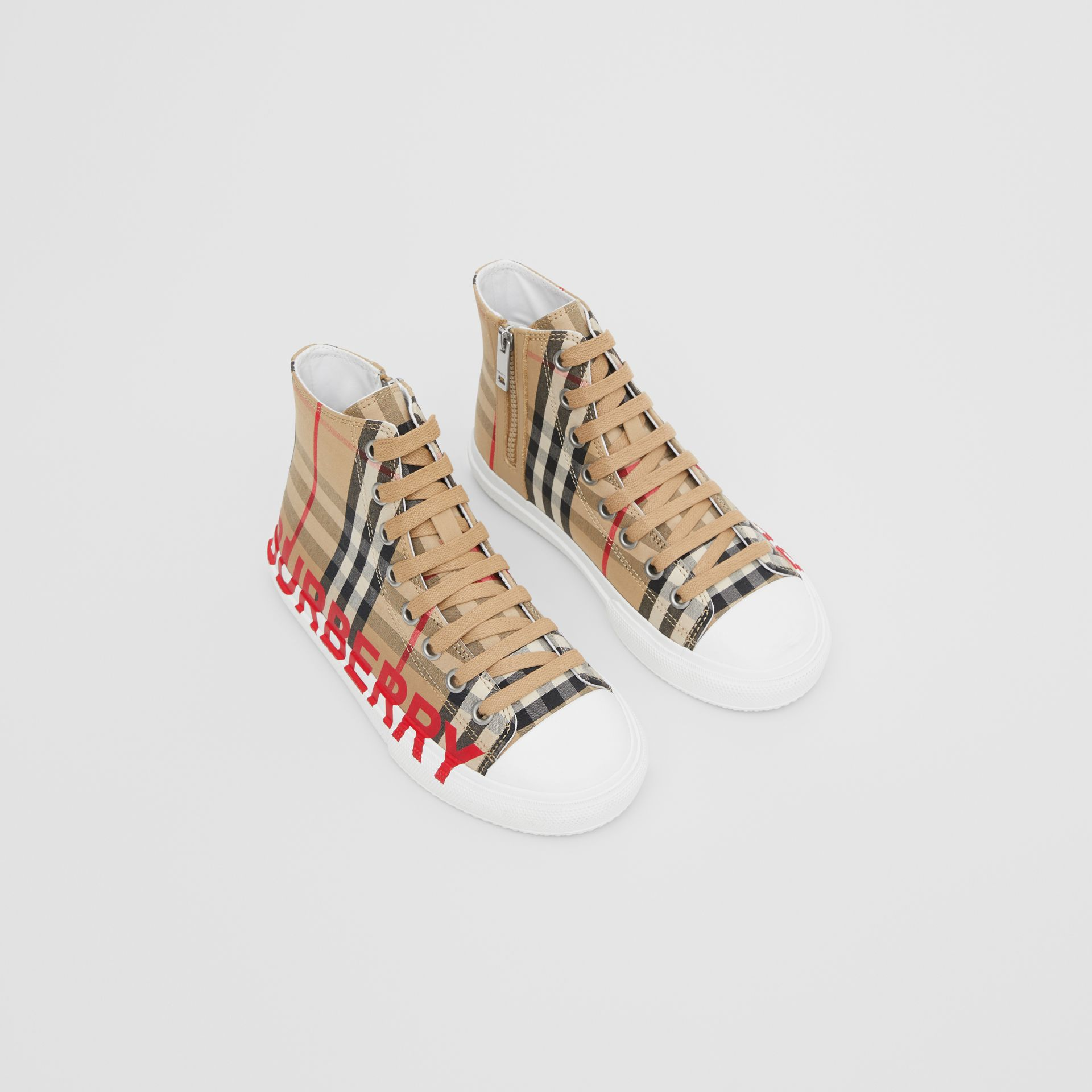 Logo Print Vintage Check High-top Sneakers in Archive Beige - Children | Burberry Hong Kong S.A.R - gallery image 0