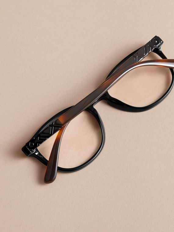 Check Detail Round Optical Frames in Black - cell image 3