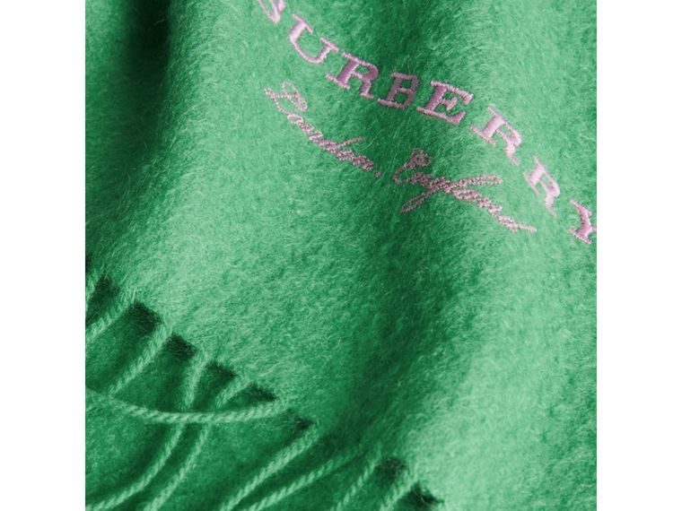 Embroidered Cashmere Fleece Scarf in Tourmaline Green | Burberry - cell image 1