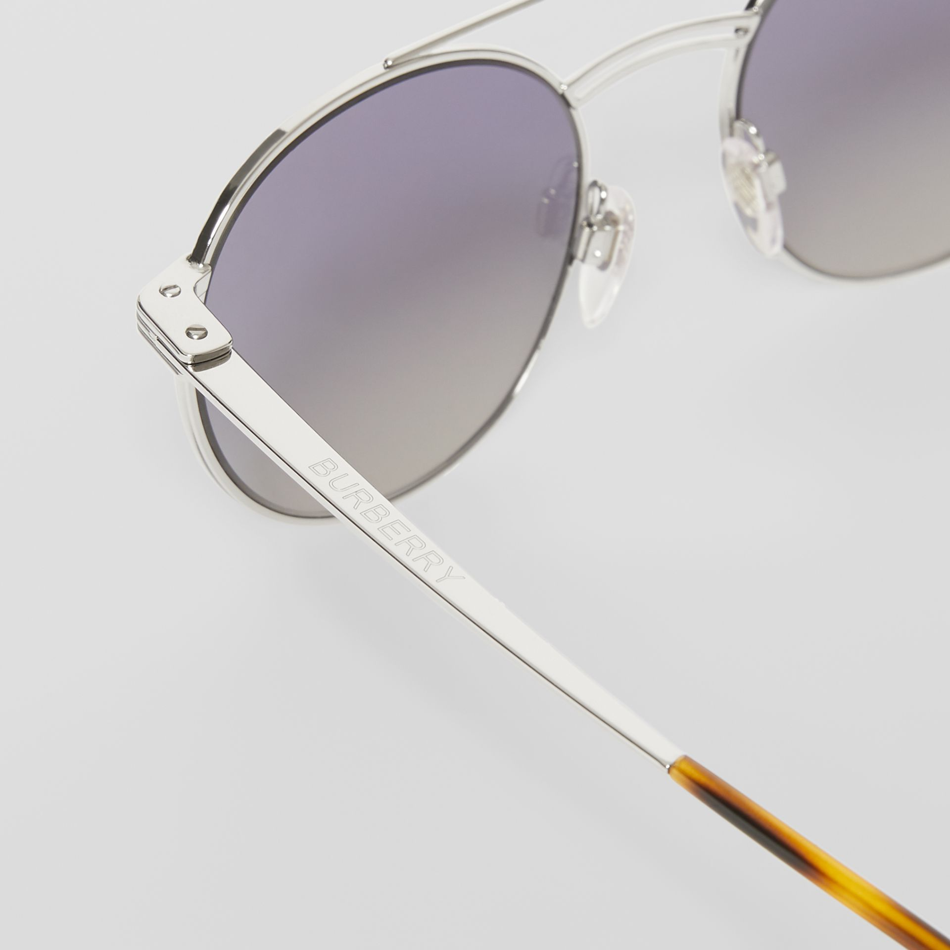 Top Bar Detail Round Frame Sunglasses in Silver - Men | Burberry United Kingdom - gallery image 1
