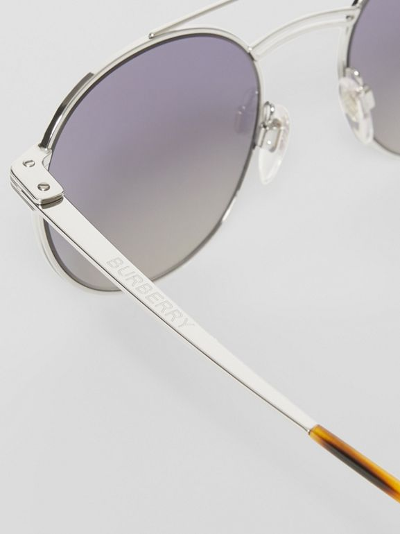 Top Bar Detail Round Frame Sunglasses in Silver - Men | Burberry United Kingdom - cell image 1