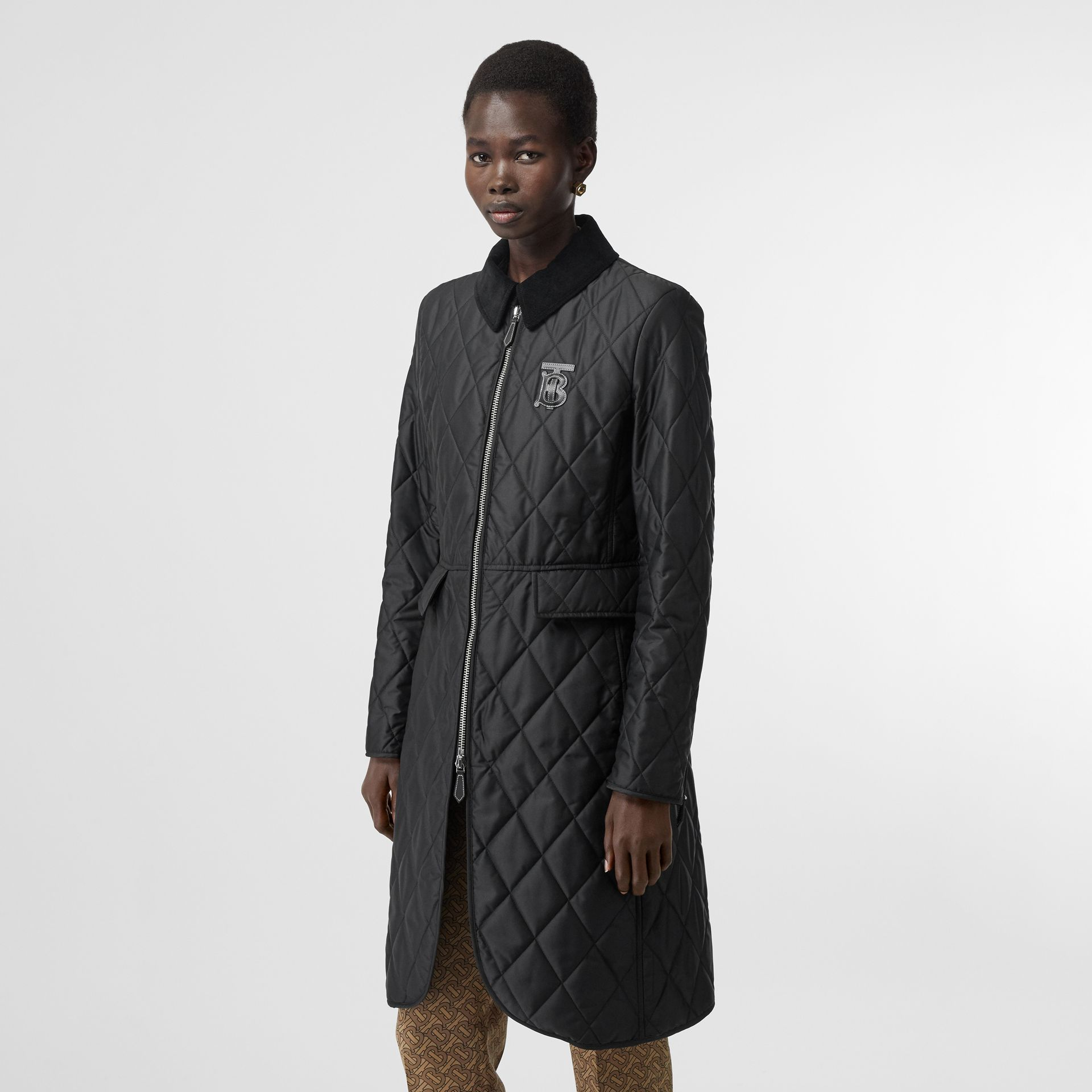 Monogram Motif Quilted Riding Coat in Black - Women | Burberry - gallery image 7