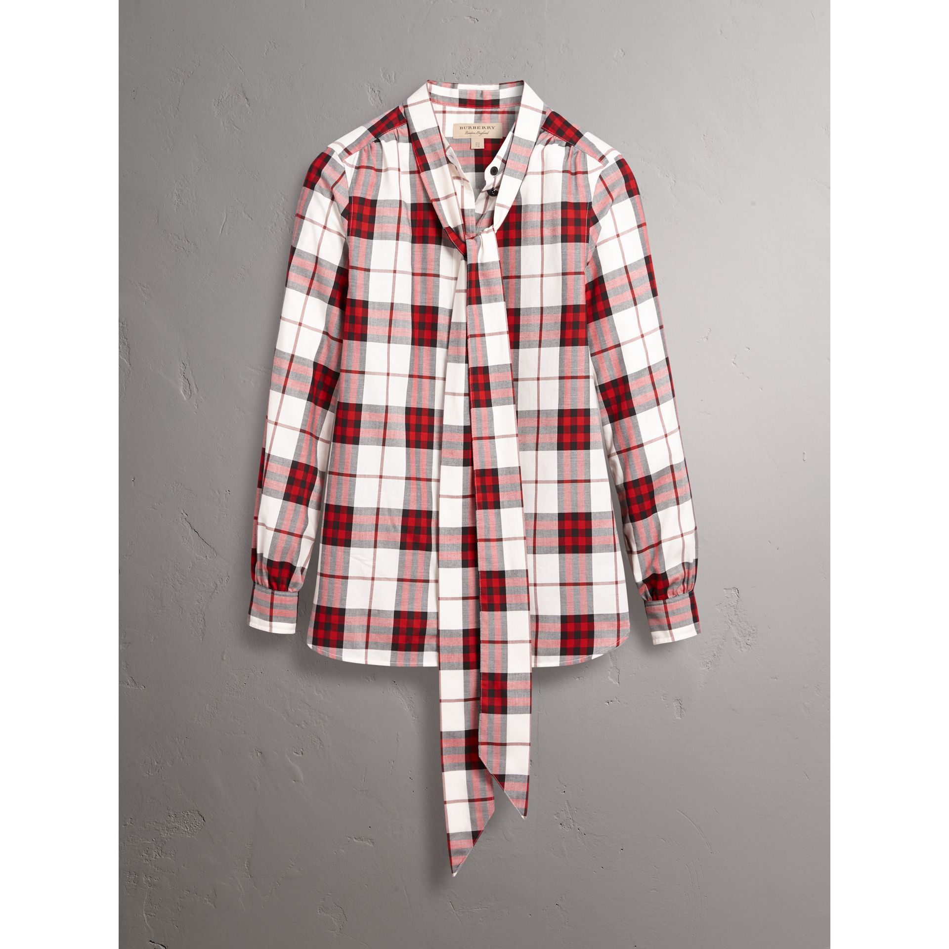 Pussy-bow Check Flannel Shirt in Crimson Red - Women | Burberry - gallery image 3