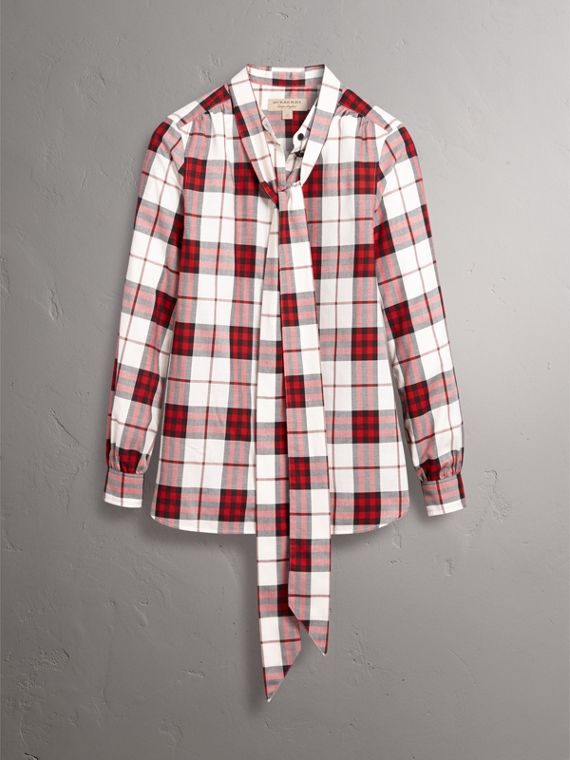 Pussy-bow Check Flannel Shirt in Crimson Red - Women | Burberry Singapore - cell image 3