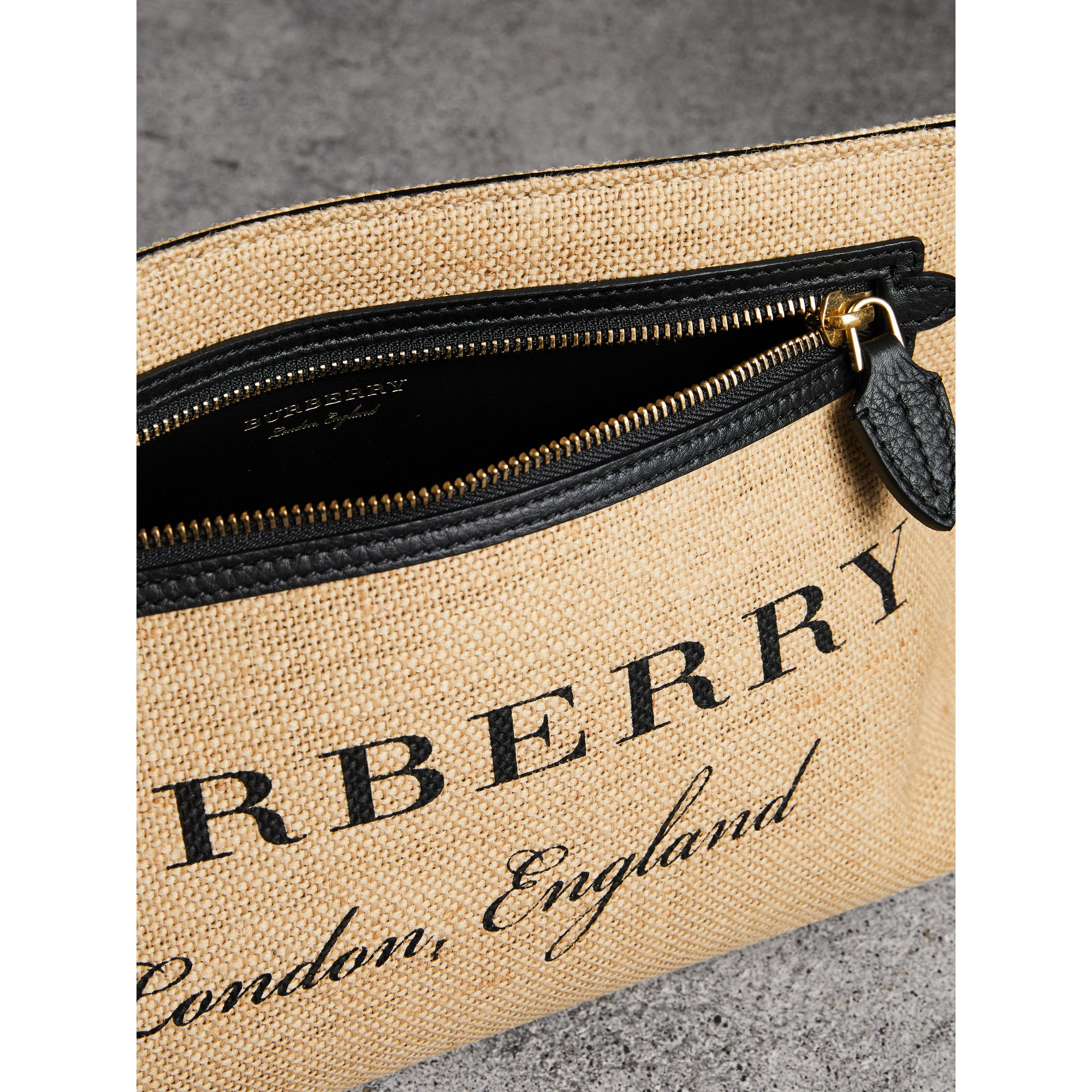 Logo Print Jute Wristlet Clutch in Black - Women | Burberry - gallery image 3
