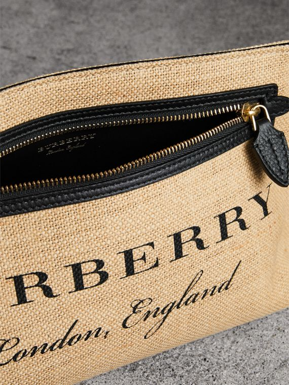 Logo Print Jute Wristlet Clutch in Black - Women | Burberry - cell image 3