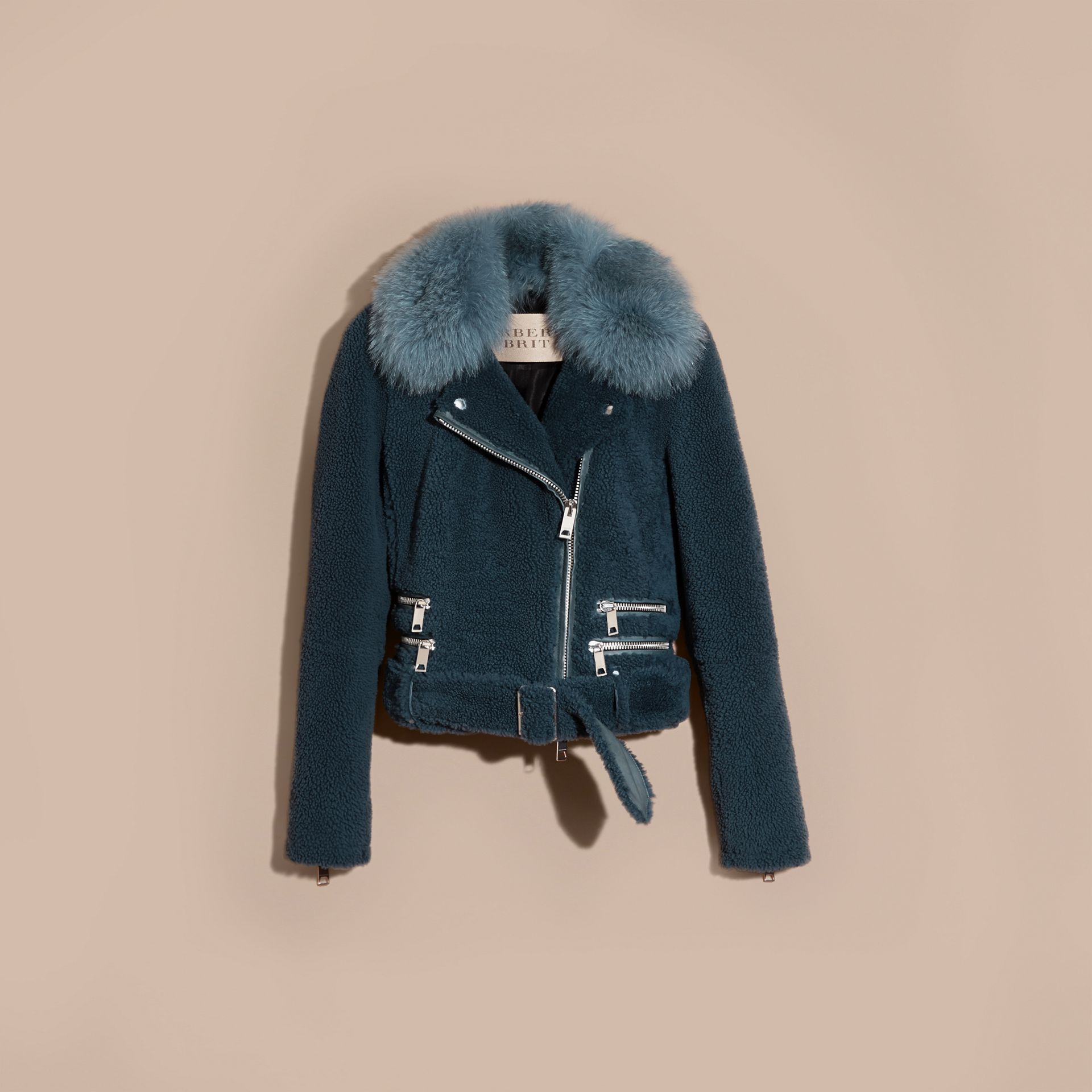 Light steel blue Shearling Biker Jacket with Fur Collar Light Steel Blue - gallery image 4